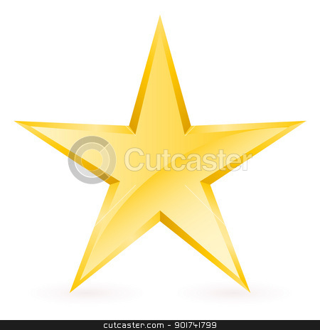 Shiny Gold Star stock photo, Shiny Gold Star. Form of the seventh. Illustration for design on white background by dvarg