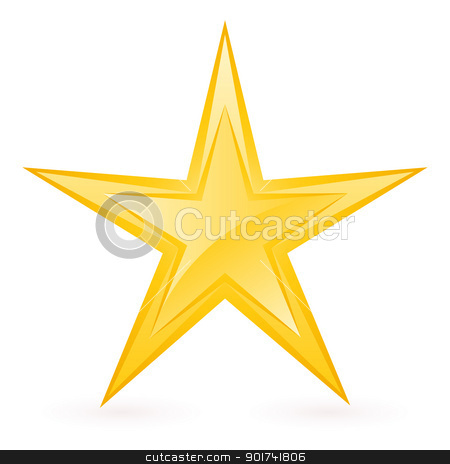 Shiny Gold Star stock photo, Shiny Gold Star. Form-eighth. Illustration for design on white background by dvarg