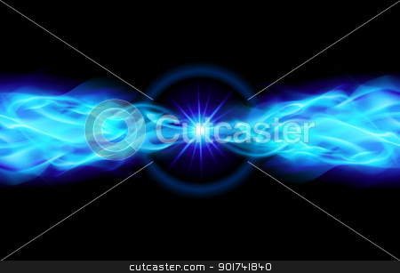 Bright blue star stock photo, Blue Star with Flame Tail in Space by dvarg