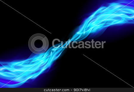 Blue Flame stock photo, Blue Flame Tail in Space for You design on black by dvarg