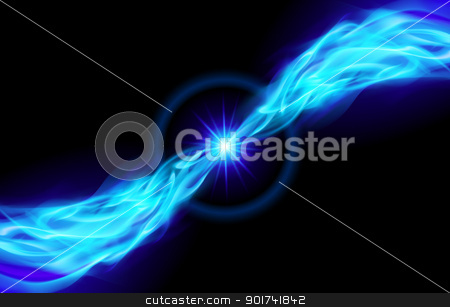 Bright blue Star stock photo, Blue Star with Flame Tail for You design on black by dvarg
