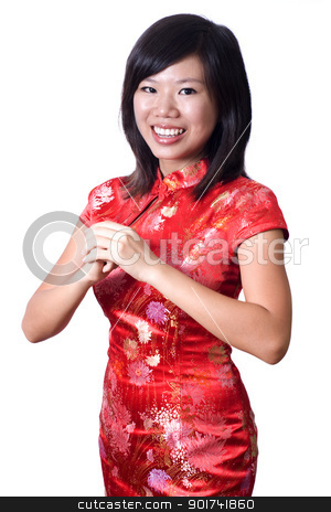 Happy Chinese New Year. stock photo, Oriental girl wishing you a happy Chinese New Year. by szefei