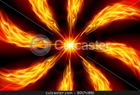 Bright fiery Star stock photo, Red Star for You design on Black by dvarg