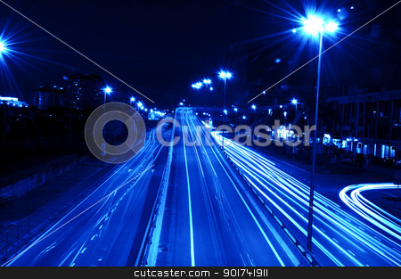 urban night traffics stock photo, Long exposure of urban night traffics in dusk.  by szefei