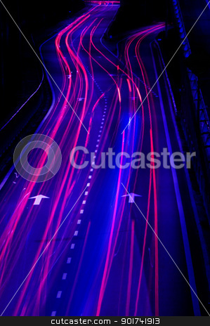 urban night traffics stock photo, Long exposure of urban night traffics in dusk  by szefei