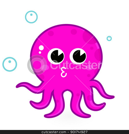 Pink cartoon octopus isolated on white stock vector clipart, Underwater octopus. Vector Illustration by Jana Guothova