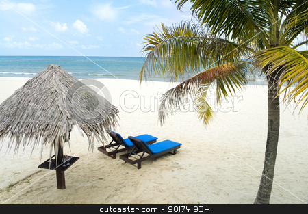 Beach holiday stock photo, Tropical beach with hut and chairs   by szefei