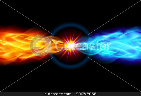 Bright Fiery Star stock photo, Star with Red and Blue Flame tail in Space by dvarg