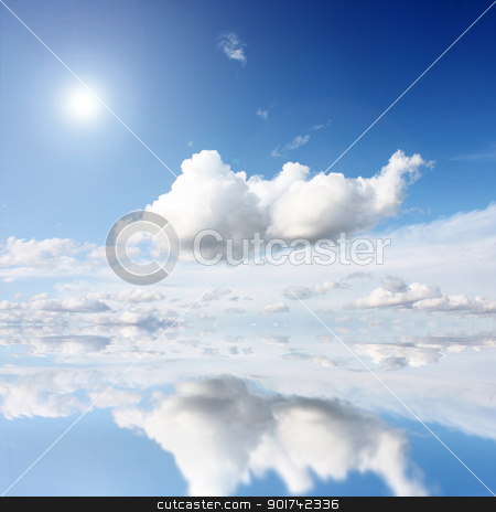 Ocean stock photo, white clouds on blue sky in season by Viktor Thaut