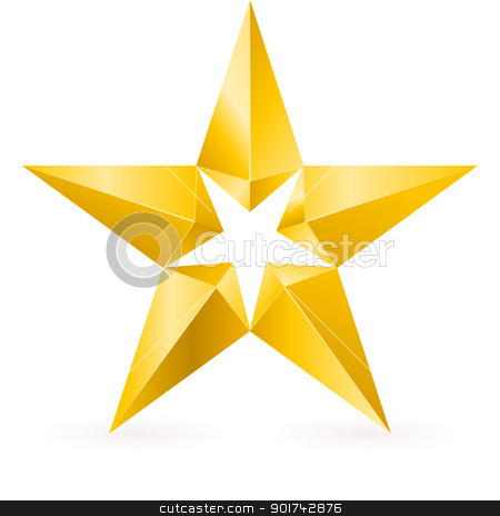 Shiny Gold Star stock photo, Shiny Gold Star. Form the second. Illustration for design on white background by dvarg