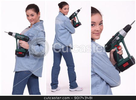 Woman operating a screwdriver stock photo, Woman operating a screwdriver by photography33