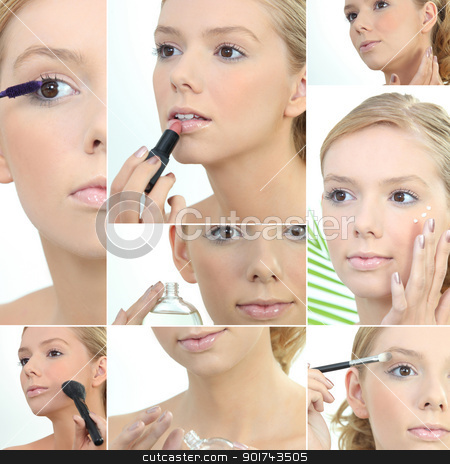 Montage of a young woman applying makeup stock photo, Montage of a young woman applying makeup by photography33