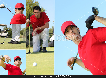 Collage of a man playing golf stock photo, Collage of a man playing golf by photography33