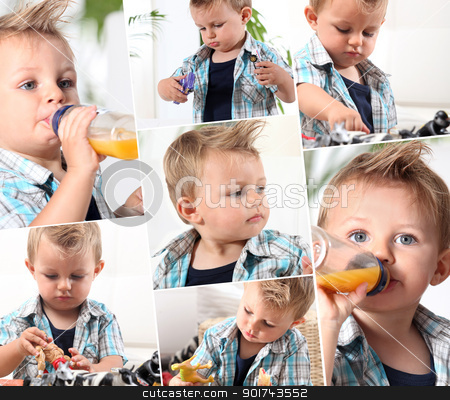 Collage of little boy drinking to baby bottle stock photo, Collage of little boy drinking to baby bottle by photography33