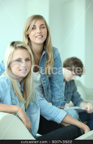 Group of three teenagers stock photo, Group of three teenagers by photography33