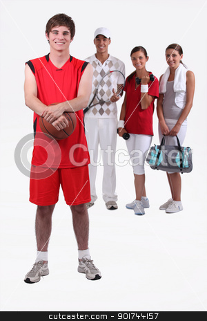 portrait of 4 sporty people stock photo, portrait of 4 sporty people by photography33