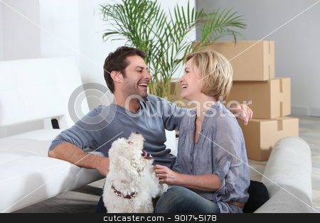 Couple in their new home stock photo, Couple in their new home by photography33