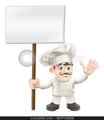 Waving chef holding sign stock vector clipart, Chef mascot character waving and holding a sign cartoon by Christos Georghiou
