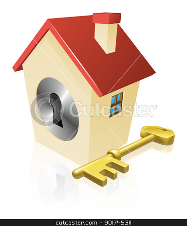 House keyhole key concept stock vector clipart, Conceptual illustration of a house with keyhole and gold key  by Christos Georghiou