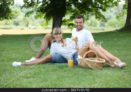Young couple having a picnic in a meadow stock photo, Young couple having a picnic in a meadow by photography33