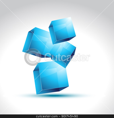 vector 3d style blue box stock vector clipart, Shiny 3d blue box design vector by pinnacleanimates