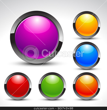 shiny web buttons vector set stock vector clipart, shiny web buttons set for your projects by pinnacleanimates