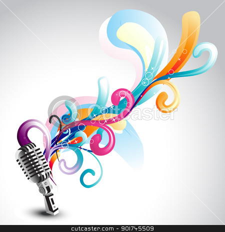 vector mic with floral stock vector clipart, vector beautiful mic with floral around it by pinnacleanimates