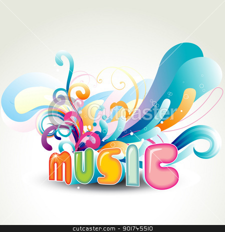 vector music design stock vector clipart, vector music design with florals around it by pinnacleanimates