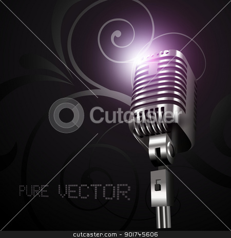vector mic in dark background stock vector clipart, vector mic in dark background by pinnacleanimates