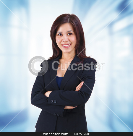 Asian business woman stock photo, Mixed race Mid adult Asian woman standing on office background by szefei