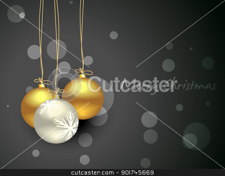 christmas balls stock vector clipart, vector christmas balls on dark background by pinnacleanimates