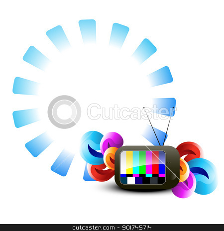 vector tv abstract design stock vector clipart, stylish vector tv colorful design art by pinnacleanimates