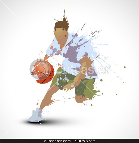 person playing basketball stock vector clipart, vector person playing basketball by pinnacleanimates