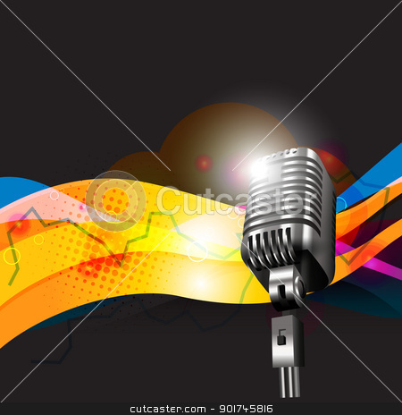 vector mic design art stock vector clipart, vector mic funky design art by pinnacleanimates