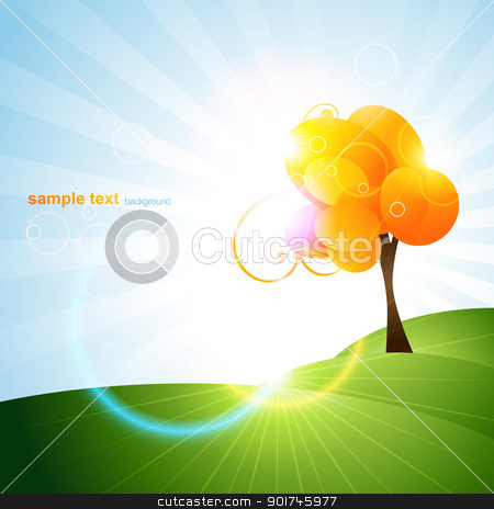 beautiful tree design stock vector clipart, beautiful orange color vector tree design by pinnacleanimates