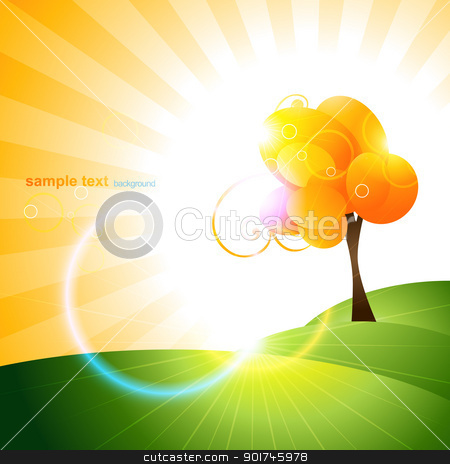 tree design stock vector clipart, beautiful orange color vector tree design by pinnacleanimates