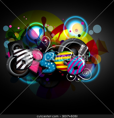 music background stock vector clipart, abstract funky colorful disco background by pinnacleanimates