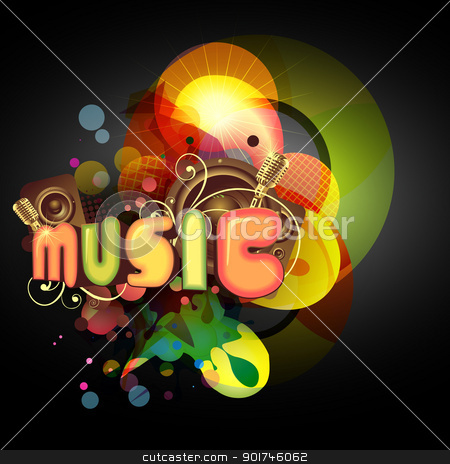 vector music background stock vector clipart, vector music colorful background design by pinnacleanimates
