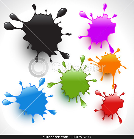 colorful paint splashes set 2 stock vector clipart, colorful paint splashes vector set 2 by pinnacleanimates