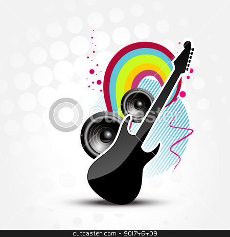 vector abstract guitar  stock vector clipart, vector abstract guitar colorful illustration by pinnacleanimates