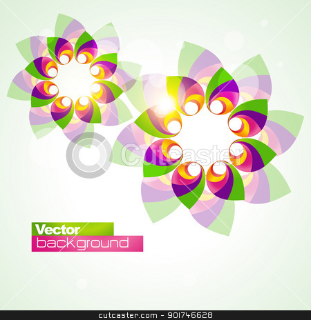 abstract flower shape stock vector clipart, abstract flower shape colorful illustration by pinnacleanimates