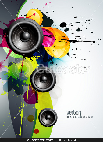 abstract music background stock vector clipart, abstract music speaker design vector background by pinnacleanimates