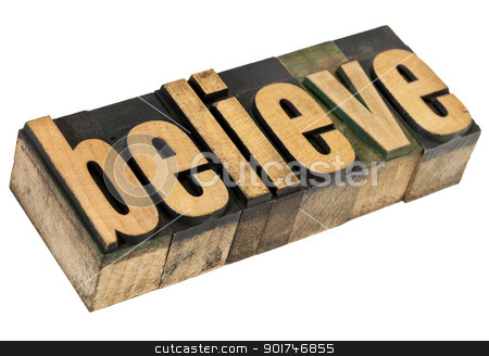 balance word in wood type  stock photo, believe - spiritual concept - isolated text in vintage letterpress wood type by Marek Uliasz
