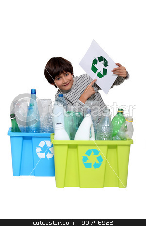 Little boy recycling stock photo, Little boy recycling by photography33