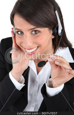 close-up of a woman with headset stock photo, close-up of a woman with headset by photography33