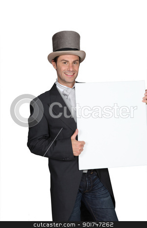man holding white sign stock photo, man holding white sign by photography33