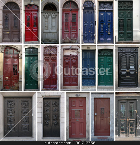 Vintage doors stock photo, Set of 19 old doors of the city of Porto, Portugal. by simas2