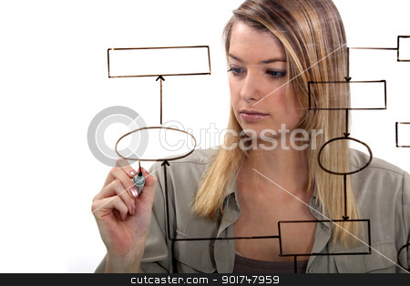 Woman drawing flow-chart stock photo, Woman drawing flow-chart by photography33