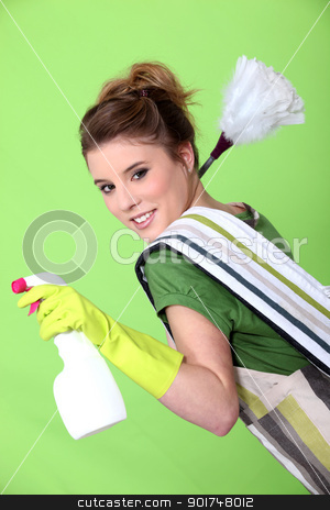 Foxy young cleaner stock photo, Foxy young cleaner by photography33
