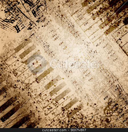 Music notes background stock photo, paper background with note sings on it by Sergey Nivens